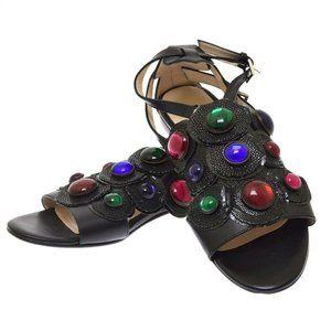 Chrissie Mom's Black Leather Jeweled Stingray Hardwich Women's Sandals 40 US 10